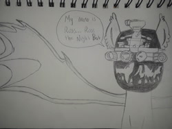Size: 2576x1932 | Tagged: safe, artist:keeganrussart, oc, oc only, oc:russ, mask, night vision goggles, solo, traditional art