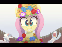Size: 3000x2265 | Tagged: safe, artist:jimmyjamno1, fluttershy, pony, bust, clothes, crying, dress, female, floral head wreath, flower, full face view, grin, implied death, looking at you, mare, midsommar, outdoors, scene interpretation, smiling, solo focus, this will end in death, this will end in tears, this will end in tears and/or death, wreath
