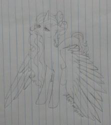 Size: 1280x1444 | Tagged: safe, artist:marifoxspirit, oc, oc:fleurbelle, alicorn, alicorn oc, female, horn, lined paper, mare, sketch, traditional art, wings