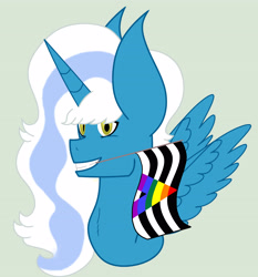 Size: 3133x3361 | Tagged: safe, artist:royal-snowflake, oc, oc:fleurbelle, alicorn, alicorn oc, female, horn, mare, mouth hold, pride, pride flag, wings, yellow eyes