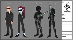 Size: 3577x1998   Tagged: safe, artist:limedazzle, equestria girls, agent, armor, clothes, design sheet, fanfic art, gun, helmet, rifle, soldier, suit, sunglasses, weapon