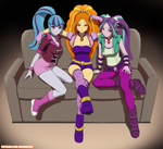 Size: 3168x2893 | Tagged: safe, artist:rambon7, adagio dazzle, aria blaze, sonata dusk, equestria girls, bedroom eyes, blushing, breasts, cleavage, female, lidded eyes, looking at you, patreon, the dazzlings, trio, trio female