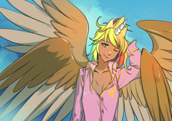 Size: 1400x988 | Tagged: safe, alternate version, artist:bakki, oc, oc:rainbow feather, human, alicorn humanization, clothes, cloths, crown, four wings, grifficorn humanization, horn, horned humanization, humanized, interspecies offspring, jewelry, magical lesbian spawn, messy hair, multiple wings, offspring, pajamas, parent:gilda, parent:rainbow dash, parents:gildash, princess, regalia, solo, winged humanization, wings