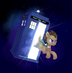 Size: 1404x1424 | Tagged: safe, artist:ravensunart, doctor whooves, time turner, atg 2020, clothes, doctor who, jumping, male, necktie, newbie artist training grounds, solo, space, stallion, tardis