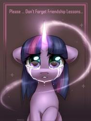 Size: 2000x2654   Tagged: safe, artist:reterica, twilight sparkle, pony, unicorn, crying, female, friendship, friendship lesson, glowing horn, horn, magic, mare, raised hoof, sad, solo, unicorn twilight