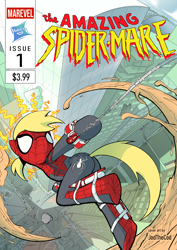 Size: 2481x3506 | Tagged: safe, artist:jodthecod, derpy hooves, pony, building, city, comic, commission, cover art, crossover, fanfic, fanfic art, fanfiction art, female, manehattan, mare, marvel, spider-man, superhero, swinging