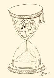 Size: 1024x1459 | Tagged: safe, artist:abyssalemissary, trixie, pony, unicorn, hourglass, sand, solo