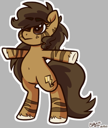 Size: 971x1148 | Tagged: safe, artist:binkyt11, derpibooru exclusive, oc, oc only, oc:binky, earth pony, hybrid, pony, zony, atg 2020, belly button, bipedal, female, gray background, mare, newbie artist training grounds, simple background, solo, t pose