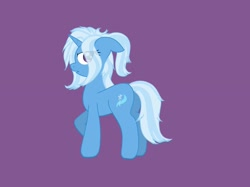 Size: 2048x1535 | Tagged: safe, artist:starfall119, trixie, pony, unicorn, female, mare, messy mane, purple background, simple background, solo