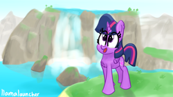 Size: 3840x2160 | Tagged: safe, artist:llamalauncher, twilight sparkle, alicorn, pony, scenery, solo, water, waterfall