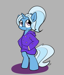 Size: 933x1096 | Tagged: safe, artist:taurson, trixie, alternate hairstyle, babysitter trixie, bipedal, clothes, digital art, female, hoodie, simple background, solo
