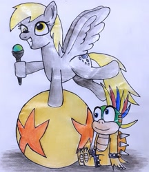 Size: 1855x2145 | Tagged: safe, artist:melisareb, derpy hooves, koopa, pegasus, pony, ball, crossover, cute, derp, derpabetes, female, lemmy koopa, male, mare, nintendo, not shipping, smiling, super mario bros., traditional art, wand, wings