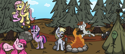 Size: 2500x1080 | Tagged: safe, artist:la hum, derpy hooves, fluttershy, pinkie pie, twilight sparkle, oc, oc:anon, oc:littlepip, oc:puppysmiles, earth pony, human, pegasus, pony, spider, unicorn, fallout equestria, campfire, camping, carrot, carrying, don't starve, female, filly, food, mare, pine tree, pinecone, pinkamena diane pie, spear, tongue out, tree, unicorn twilight, weapon
