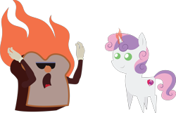 Size: 8609x5543 | Tagged: safe, artist:cosmiceclipsed, sweetie belle, bread, breakfast, epcot, epcot center, fire, food, kitchen kabaret, magic, simple background, toast, transparent background