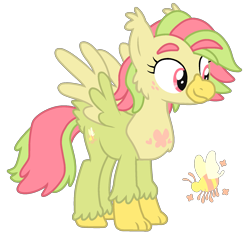 Size: 1697x1610 | Tagged: safe, artist:sandwichbuns, oc, oc:sugarbee, classical hippogriff, hippogriff, hybrid, female, magical lesbian spawn, offspring, offspring's offspring, parent:oc:ladybird, parent:oc:spongecake, parents:oc x oc, simple background, solo, transparent background