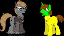 Size: 2000x1125   Tagged: safe, artist:theeditormlp, oc, oc:ryan, oc:the editor, earth pony, pony, unicorn, clothes, glasses, male, shirt, simple background, stallion, transparent background, vest