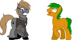 Size: 2000x1125   Tagged: safe, artist:theeditormlp, oc, oc:the editor, oc:wolfkeen, earth pony, pony, clothes, derp, glasses, male, shirt, simple background, stallion, transparent background, vest