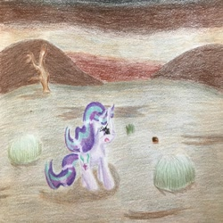 Size: 1024x1024 | Tagged: safe, artist:explosionmare, starlight glimmer, pony, unicorn, solo, traditional art, wasteland