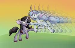 Size: 1750x1115 | Tagged: safe, artist:huffy26, oleander, classical unicorn, pony, unicorn, them's fightin' herds, atg 2020, boop, cloven hooves, leonine tail, unshorn fetlocks