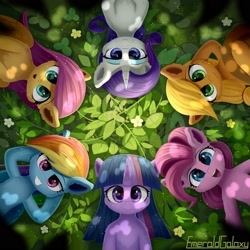 Size: 1920x1920   Tagged: safe, artist:emeraldgalaxy, applejack, fluttershy, pinkie pie, rainbow dash, rarity, twilight sparkle, earth pony, pegasus, pony, unicorn, cheek fluff, ear fluff, female, leaf, leg fluff, looking up, mane six, mare, on back, overhead view