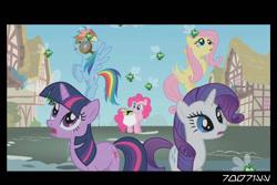 Size: 1288x858   Tagged: safe, edit, edited screencap, editor:teren rogriss, screencap, fluttershy, pinkie pie, rainbow dash, rarity, twilight sparkle, earth pony, parasprite, pegasus, pony, unicorn, swarm of the century, coronavirus, covid-19, ponyville, unicorn twilight