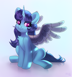 Size: 2108x2248   Tagged: safe, artist:sugarstar, oc, oc only, oc:creative twinkle, pony, unicorn, artificial wings, augmented, female, horn, looking away, mare, mechanical wing, rcf community, simple background, sitting, smiling, solo, spread wings, wings