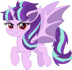 Size: 1500x1455   Tagged: safe, artist:cloudyglow, starlight glimmer, alicorn, bat pony, bat pony alicorn, pony, alicornified, bat ponified, bat wings, female, glimbat, horn, looking at you, mare, race swap, red eyes, simple background, smiling, solo, starlicorn, transparent background, wings, xk-class end-of-the-world scenario