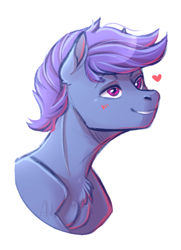 Size: 508x702 | Tagged: safe, artist:1an1, oc, oc only, oc:windy dripper, pegasus, pony, blushing, bust, chest fluff, heart, male, simple background, smiling, solo, stallion, white background