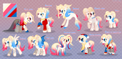 Size: 4100x2000 | Tagged: safe, artist:keyrijgg, oc, oc only, oc:har-harley queen, oc:har-harvy queen, alicorn, bat pony, crystal pony, mermaid, pony, alicorn oc, alicornified, art, bat ponified, bat pony oc, bat wings, big reference, choker, clothes, commission, dress, ear piercing, earring, fangs, female, filly, fishnets, foal, gala dress, gloves, horn, jewelry, male, mare, multicolored hair, night of nightmares, nightmare night, open mouth, piercing, race swap, rainbow power, raised hoof, raised leg, reference, roller skates, simple background, stallion, tattoo, wings