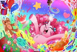 Size: 3285x2220 | Tagged: safe, artist:dragonfoxgirl, pinkie pie, pony, unicorn, balloon, candy, eyes closed, food, g5, generation leap, gift wrapped, lollipop, magic, open mouth, pinkie pie (g5), plushie, teddy bear, toy