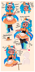 Size: 900x1843 | Tagged: safe, artist:ipun, oc, oc:mixer, anthro, bat pony, chibi, clothes, female, flan, food, friendship cafe, maid, mare, pudding, solo