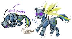 Size: 1273x693 | Tagged: safe, artist:frostclaw, oc, oc only, pegasus, pony, robot, robot pony, atg 2020, newbie artist training grounds