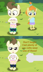 Size: 2311x3870 | Tagged: safe, artist:papadragon69, pound cake, pumpkin cake, anthro, pegasus, plantigrade anthro, unicorn, 2 panel comic, assisted exposure, baby, clothes, comic, dialogue, diaper, embarrassed, fourth wall, looking at you, looney tunes, pink diaper, prank, reference, stripped by magic, talking to viewer, the wacky wabbit, unamused, underwear