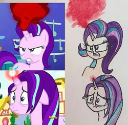 Size: 505x492 | Tagged: safe, artist:lunaart, screencap, starlight glimmer, human, pony, unicorn, all bottled up, anger magic, angry, horn, horned humanization, humanized, magic, scene interpretation, screencap reference, traditional art