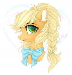 Size: 1865x1940 | Tagged: safe, artist:vird-gi, applejack, pony, alternate hairstyle, bowtie, braid, bust, chest fluff, cute, ear fluff, female, jackabetes, mare, open mouth, portrait, profile, solo