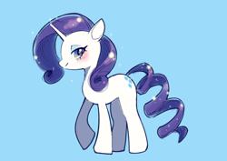 Size: 816x579 | Tagged: safe, artist:unousaya, rarity, pony, unicorn, blue background, blushing, cute, female, mare, profile, raribetes, simple background, solo