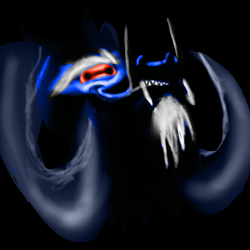 Size: 2000x2000 | Tagged: safe, artist:billyggruff, grogar, sheep, beard, black background, dark lighting, eyebrows, facial hair, fangs, g1, g1 to g4, generation leap, horns, male, ram, red eyes, simple background