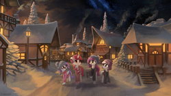 Size: 2560x1440 | Tagged: safe, artist:freeedon, oc, oc only, earth pony, pegasus, pony, unicorn, clothes, female, hoodie, mare, night, scenery, snow, streetlight, winter