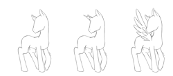 Size: 2500x1096 | Tagged: safe, artist:caninelove, oc, earth pony, pegasus, pony, unicorn, bald, base, earth pony oc, horn, lineart, male, pegasus oc, simple background, stallion, transparent background, unicorn oc, wings