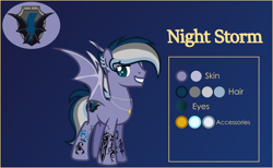Size: 4000x2469 | Tagged: safe, artist:n0kkun, oc, oc:night storm (ice1517), bat pony, pony, bat pony oc, bat wings, blue background, ear piercing, earring, eyebrow piercing, grin, jewelry, male, multicolored hair, necklace, piercing, reference sheet, ring, simple background, smiling, solo, stallion, tattoo, wedding ring, wings
