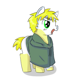 Size: 400x400 | Tagged: safe, artist:ask-pony-gerita, pony, unicorn, clothes, colt, england, hetalia, male, open mouth, ponified, simple background, socks (coat marking), solo, transparent background
