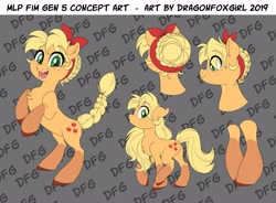 Size: 4096x3019 | Tagged: safe, artist:dragonfoxgirl, applejack, earth pony, pony, spoiler:g5, alternate hairstyle, applejack (g5), eyes closed, g5, generation leap, ribbon, socks (coat marking)
