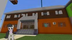 Size: 1334x750 | Tagged: safe, artist:topsangtheman, octavia melody, earth pony, pony, house, looking at you, minecraft, solo