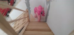 Size: 3264x1546 | Tagged: safe, pinkie pie, blind bag, everfree customs, garage, mercedes-benz, stairs, toy