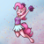 Size: 2000x2000 | Tagged: safe, artist:ohemo, pinkie pie, anthro, earth pony, unguligrade anthro, abstract background, armpits, atg 2020, cheerleader, cheerleader outfit, clothes, female, looking at you, mare, newbie artist training grounds, skirt, smiling, solo