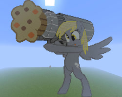 Size: 1000x800 | Tagged: safe, artist:kaborto, derpy hooves, pegasus, cannon ponies, minecraft, minecraft pixel art, muffin cannon, pixel art, solo