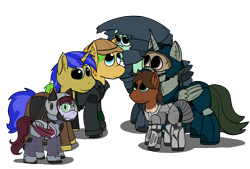 Size: 4245x2863 | Tagged: safe, artist:capt-sierrasparx, oc, oc only, oc:bitwise, oc:jade jump, oc:kraken kissed, oc:lunar spice, oc:screaming eagle, oc:star sapphire, alicorn, bat pony, earth pony, unicorn, fallout equestria, armor, artificial alicorn, clothes, duster, fallout, female, foe adventures, green alicorn (fo:e), group photo, group shot, helmet, jacket, male, mare, pipbuck, power armor, stallion, stealth suit