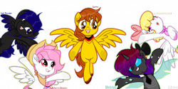 Size: 700x350 | Tagged: safe, artist:virumi, oc, oc:baileys, oc:cherry blossom, oc:nat thunder, oc:sertro, oc:sweetie heartcloud, changeling, pegasus, pony, clothes, ear piercing, group, hat, oc x oc, piercing, ribbon, scarf, shipping, simple background, spread wings, underhoof, white background, white outline, wings