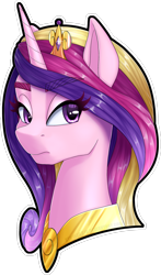 Size: 1600x2727 | Tagged: safe, artist:str1ker878, princess cadance, alicorn, pony, bust, collaboration, commission, crown, eyebrows visible through hair, female, jewelry, mare, portrait, regalia, simple background, solo, transparent background, white outline