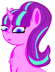 Size: 1047x1366 | Tagged: safe, alternate version, artist:oldlunarlight, starlight glimmer, pony, unicorn, the cutie map, bust, chest fluff, corrected edit, digital art, female, looking at you, mare, s5 starlight, simple background, smiling, solo, transparent background